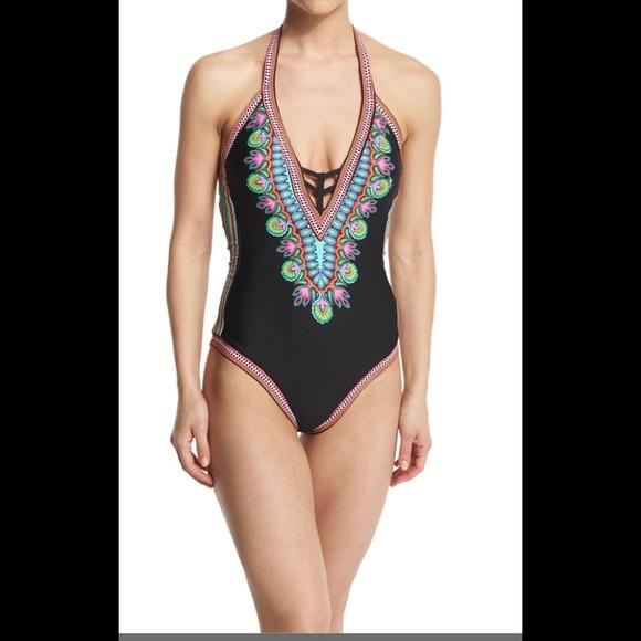 0ec1bd6a398 Trina Turk Swim | Nwt Dashiki One Piece Vneck Suit | Poshmark